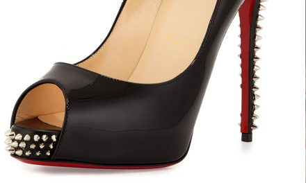 Christian Louboutin Studded Peep-Toe Red Sole Pump