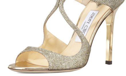 Jimmy Choo 'Lang' Glittered Strappy Sandal