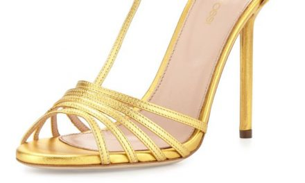 Sergio Rossi Metallic-Leather Peep-Toe Sandal