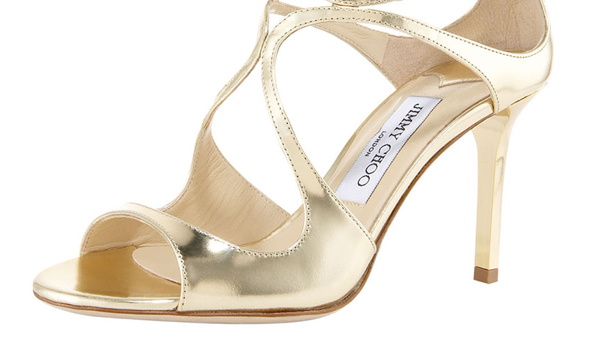 Jimmy Choo 'Ivette' Mirrored Crisscross Sandal