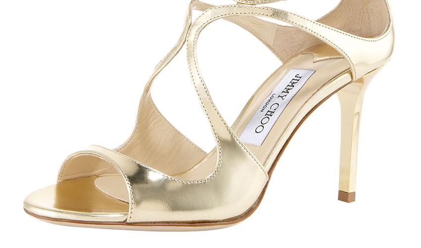 Jimmy Choo 'Ivette' Mirrored Crisscross Sandal