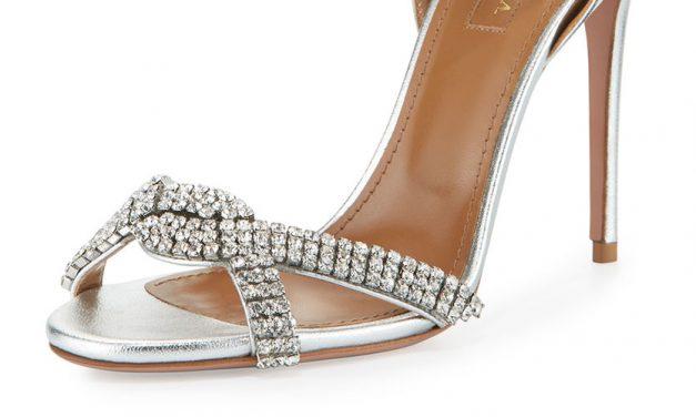 Aquazzura Crystal Ankle-Wrap Sandal