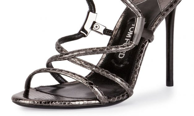Tom Ford Snakeskin Crisscross Sandal